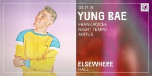 Yung Bae @ Elsewhere (Hall) PopGun Presents 16+ @ Elsewhere (Hall)  599 Johnson Avenue  Brooklyn, NY 11237  United States |  |  |