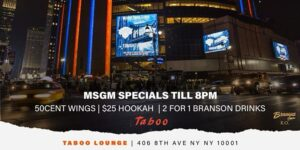 MSG MONDAYS @ TABOO by JAPAN ENT @ Taboo Lounge  406 8th Avenue  New York, NY 10001  United States |  |  |